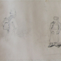 man with rucksack and top hat ?artist?. A small boy wearing an apron