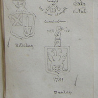 [shields of:] Holliday; God is our strength, Cunningham; O'Neil; Mer ito, 1731, Dunlap; from the old church yard of Killowen, Coleraine