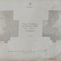 Plan of the doorway. Old church of Clone near Ferns Co. Wexford. Geo: V. du Noyer. Scaled plan