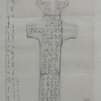 Monumental cross from the summit of a gravel mound East of and close to the old castle of Coolamber. Co. Longford. Geo: V. Du Noyer. 22 July 1864